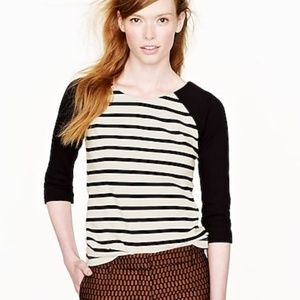 J Crew black and white raglan sailor top